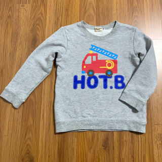 HOT BISCUITS - ミキハウス ホットビスケッツ 消防車プリントトレーナー 100 裏毛 グレー