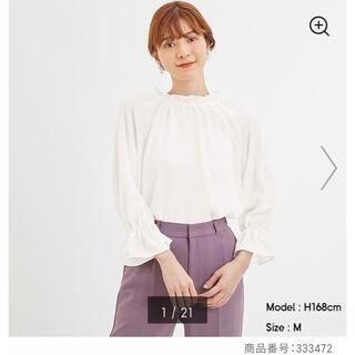 ジーユー(GU)の2WAYフリルネックブラウス(長袖)+E     01 off white(シャツ/ブラウス(長袖/七分))