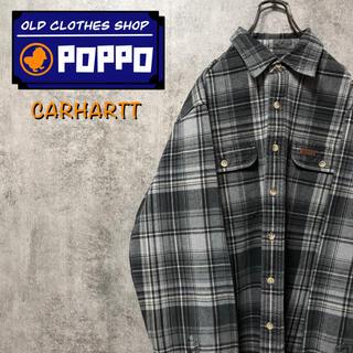 カーハート(carhartt)のカーハート☆レザーロゴ入りダブルポケットワークネルチェックシャツ(シャツ)