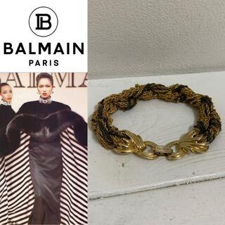 バルマン(BALMAIN)のBALMAIN PARIS VINTAGE チェーン編みデザイン ブレスレット(ブレスレット/バングル)