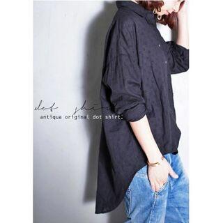 antiqua - 新品☆彡【antiqua】ドット デザイン シャツ ブラック【アンティカ】