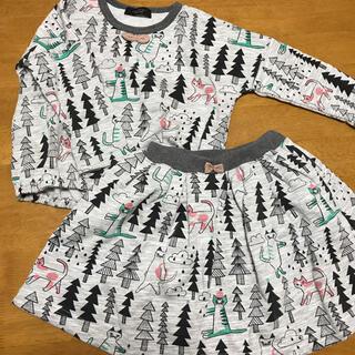 ユニカ(UNICA)の美品 ユニカ猫と森柄セットアップ(Tシャツ/カットソー)