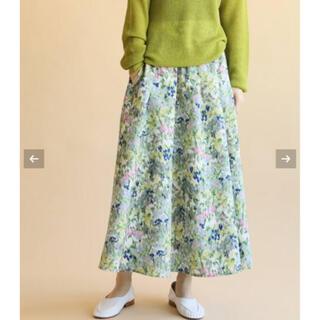IENA - 新品 イエナ かすれフラワー ギャザースカート サックスブルー 40