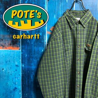 カーハート(carhartt)の【カーハート】レザーロゴ入りダブルポケットレトロワークチェックシャツ(シャツ)
