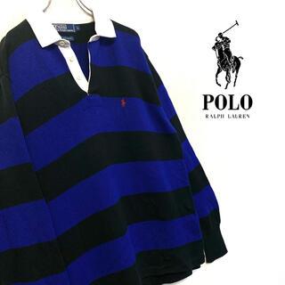 ポロラルフローレン(POLO RALPH LAUREN)の美品 90's Ralphローレン ニット生地 ラガーシャツ メンズL(ニット/セーター)