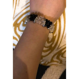 スワロフスキー(SWAROVSKI)のスワロフスキー ブレスレット 天然石 ピンク パープル ブラック ホワイト(ブレスレット/バングル)