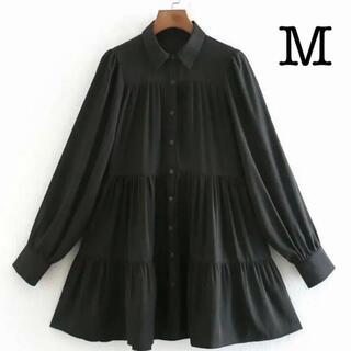 【匿名配送♪】フレア ワンピース  シャツ ブラック 黒 ZARA ザラ M
