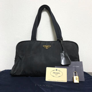 PRADA - 【カード・袋付き】プラダ ハンドバッグ ミニボストンバッグ 鍵付き 三角プレート
