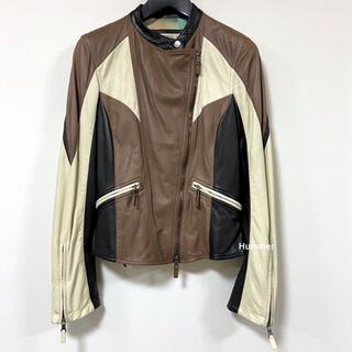 エトロ(ETRO)の国内正規品 未使用 エトロ ライダース レザージャケット ミックスカラー 44(ライダースジャケット)