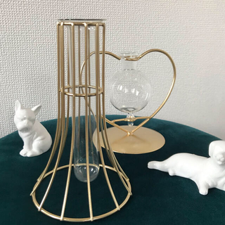 フランフラン(Francfranc)の新品★マットゴールドアイアンワイヤーフラワーベース花瓶花器フランフラン ラティス(花瓶)