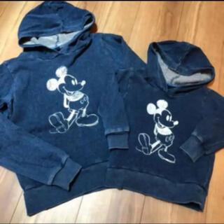 ディズニー(Disney)のミッキー デニムパーカー フード付きトレーナー おそろい リンク 兄弟(トレーナー)