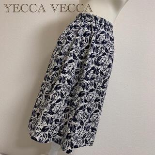 イェッカヴェッカ(YECCA VECCA)の【格安】YECCA VECCAリーフ柄スカート❃白×黒(ひざ丈スカート)