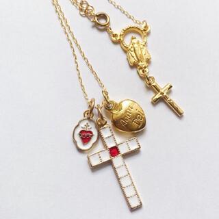 【再販】+*.み心と十字架のネックレス マリア様のバックチャーム付 ゴールド†