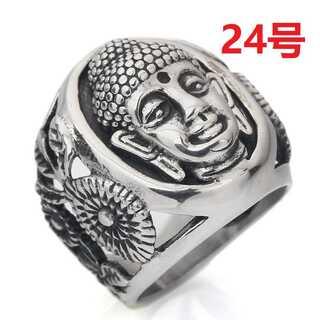 お守り 魔除け 幸運 仏陀 ブッダ 沙羅双樹 シルバー リング 指輪 24号(リング(指輪))