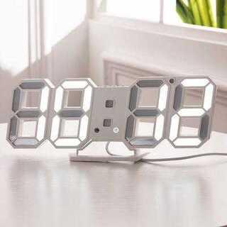 LED デジタル時計 置き時計 壁掛け 卓上時計 ホワイト 白(置時計)