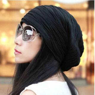 ブラック ニット帽 くしゅくしゅ帽 ユニセックス 帽子 ニットキャップ(ニット帽/ビーニー)