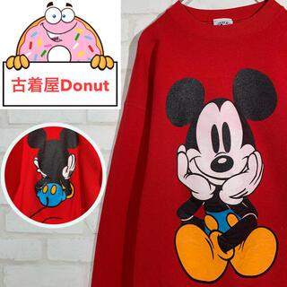 ディズニー(Disney)の《激レア》ディズニー 90s ミッキー ビッグ両面デザイン スウェットシャツ(スウェット)