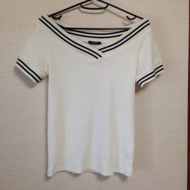 しまむら(シマムラ)のオフショルラインカットソー レディースのトップス(カットソー(半袖/袖なし))の商品写真