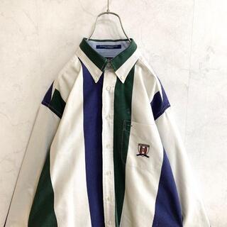【一点物】トミーヒルフィガー 長袖シャツ ストライプ柄 マルチカラー 古着(シャツ)