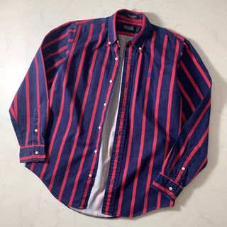 【美品】ラルフローレン 長袖シャツ ダブルストライプ柄 赤×ネイビー 古着(シャツ)