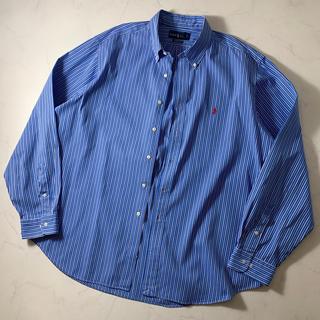 【美品】ラルフローレン 長袖シャツ ストライプ柄 ブルー ゆるコーデ メンズ(シャツ)