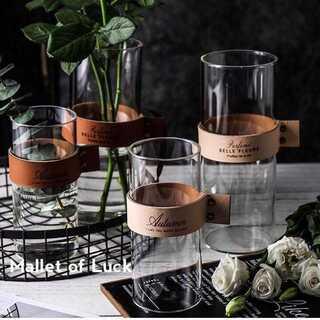 大 レザーフラワーベース ロング 花瓶 ブラウン ベージュ 23cm×9cm(花瓶)