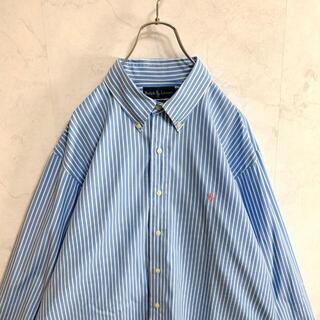 【美品】ラルフローレン 長袖シャツ ストライプ柄 水色 ゆるコーデ メンズ(シャツ)