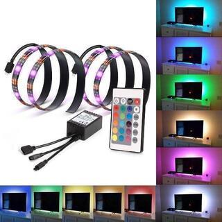 LEDテープライト テレビ PC照明 リモコン付き USB接続 (蛍光灯/電球)
