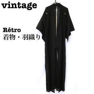 美品【 vintage 着物 】 モード系着物 ロング丈 着物シャツ 羽織り(シャツ)