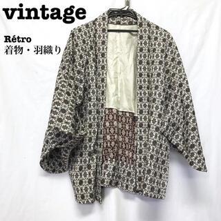 美品【 vintage 着物 】 総柄 アンティーク着物 羽織り レトロ半纏(シャツ)