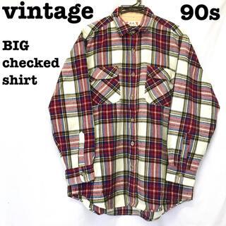 美品【 vintage 】 ビッグシルエット チェックシャツ 90s ネルシャツ(シャツ)