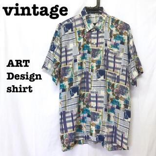 美品【 vintage 】 ビッグシルエット 総柄シャツ アートデザインシャツ(シャツ)
