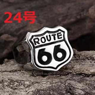 アメリカン バイカー アクセ ROUTE 66 シルバー リング 指輪 24号(リング(指輪))