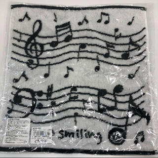 イマバリタオル(今治タオル)の新品未使用 今治タオルハンカチ 楽譜の柄 五線譜の柄 ピアノ柄(タオル/バス用品)