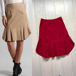 アクアガール(aquagirl)のaquagirl アクアガール 裾フリル スカート ひざ丈 赤 レッド フレア(ひざ丈スカート)