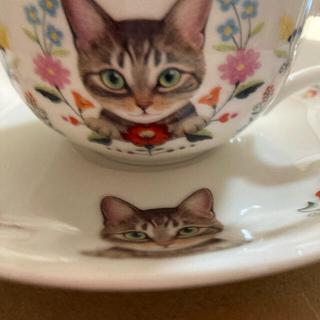 フェリシモ(FELISSIMO)の値下げ☆フェリシモ猫部 お花と猫の&ティーカップ&ソーサー4点セット(グラス/カップ)