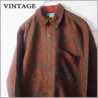 vintage ジャガードペイズリー 総柄 ウール シャツ 90s