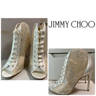 JIMMY CHOO - 未使用 美品 ジミーチュウ ホワイトレース ブーツ