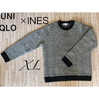 UNIQLO - 【ユニクロ イネス】セーター ブラック×ホワイト ジャガードクルーネック