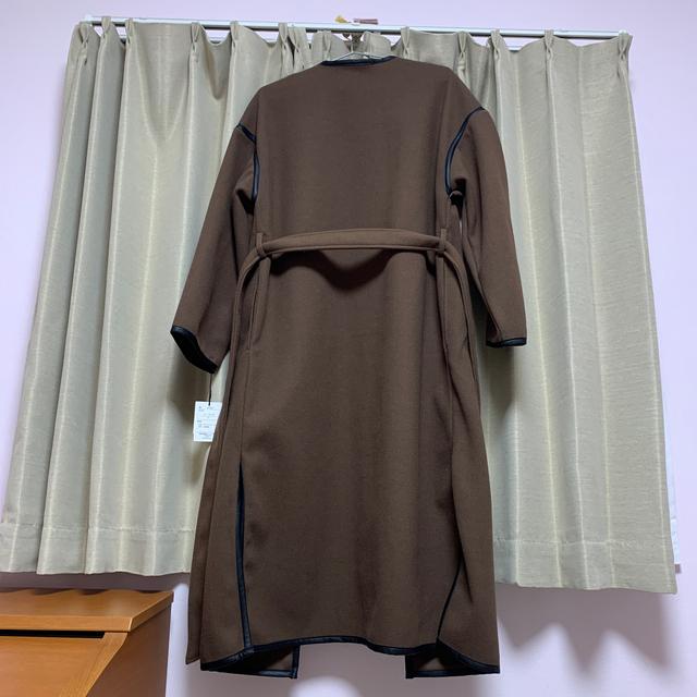 GRL(グレイル)のリボンベルト付きパイピングノーカラーコート レディースのジャケット/アウター(ロングコート)の商品写真