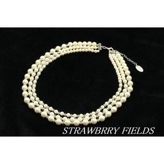 STRAWBERRY-FIELDS - 【WA45】STRAWBRRY FIELDS パール ビーズ 3連 ネックレス