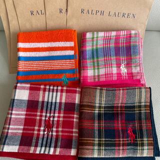 Ralph Lauren - 新品未使用 ラルフローレン  タオルハンカチ 4枚 ミニタオル
