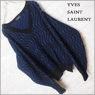 Saint Laurent - 高品質!! イブサンローラン 総柄 ウール アルパカ モヘア ニット