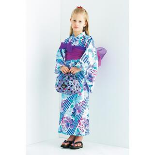 アナスイミニ(ANNA SUI mini)の新品♡ANNA SUI mini オリジナルストライプ×花柄2WAY浴衣(甚平/浴衣)