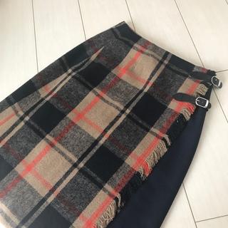 ナチュラルビューティーベーシック(NATURAL BEAUTY BASIC)のPG★チェック ラップスカート(ひざ丈スカート)