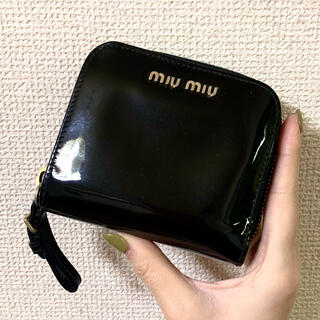 miumiu - miumiu 折り財布 ミニ財布 黒