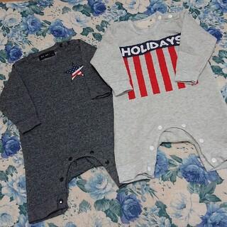 赤ちゃん ロンパース カバーオール 70センチ グレー 黒 裏起毛 2枚セット(カバーオール)