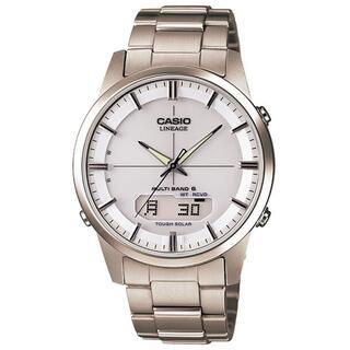 カシオ(CASIO)のカシオ LINEAGE チタンモデル 電波ソーラー 腕時計 シルバー×ホワイト(腕時計(アナログ))