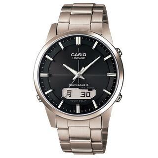 カシオ(CASIO)のカシオ LINEAGE チタンモデル 電波ソーラー 腕時計 シルバー×ブラック(腕時計(アナログ))
