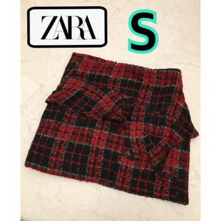 ZARA - 未使用♡ZARA ツイード ミニスカート ボックスミニ チェック フリル 美脚